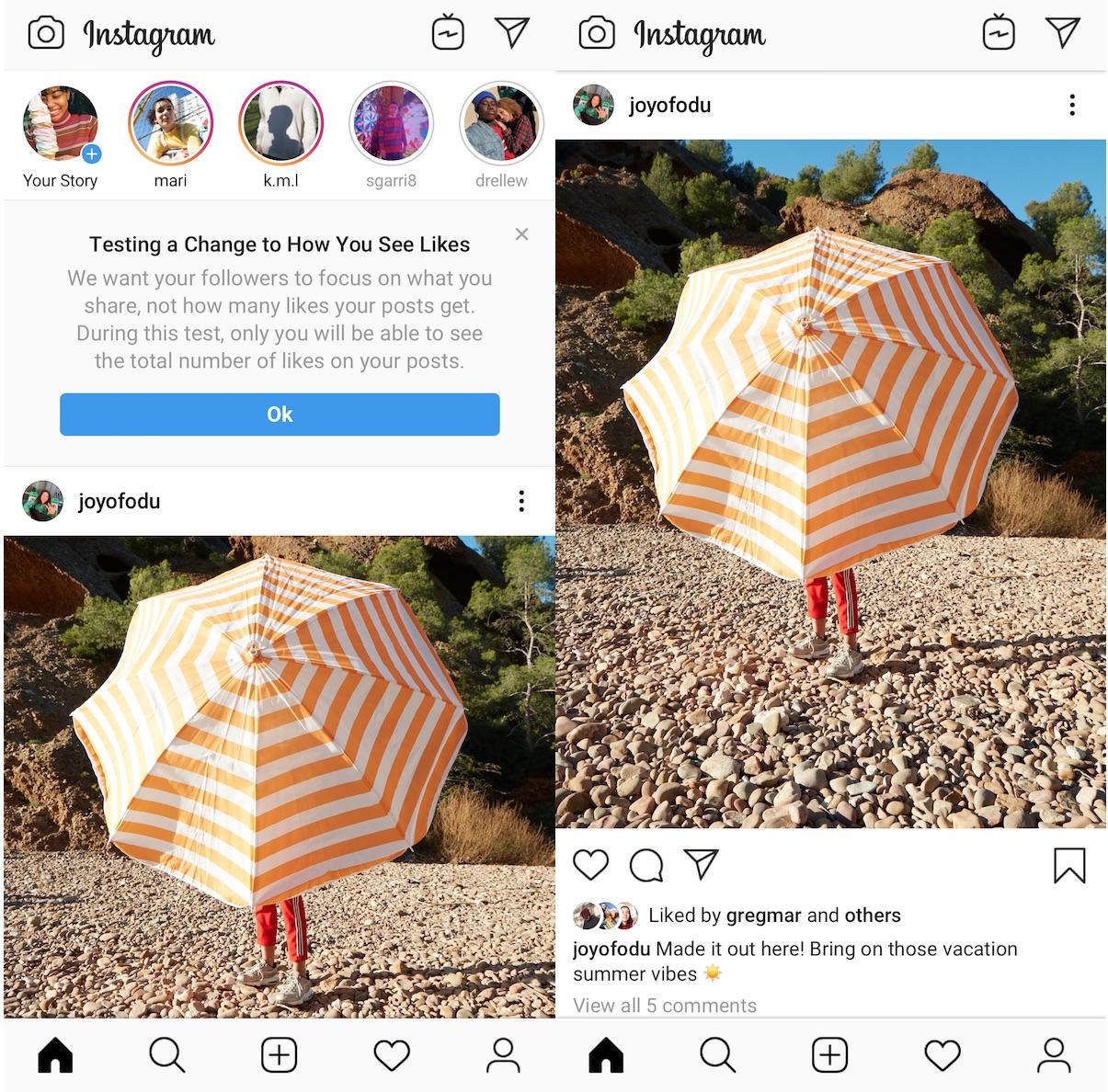 Version dans like d'Instagram
