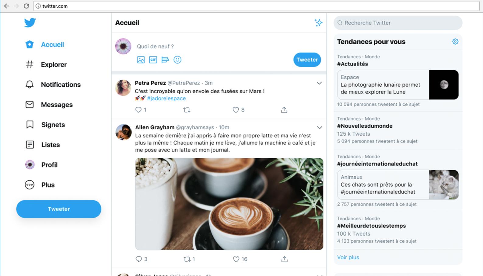 Nouveau menu sur Twitter