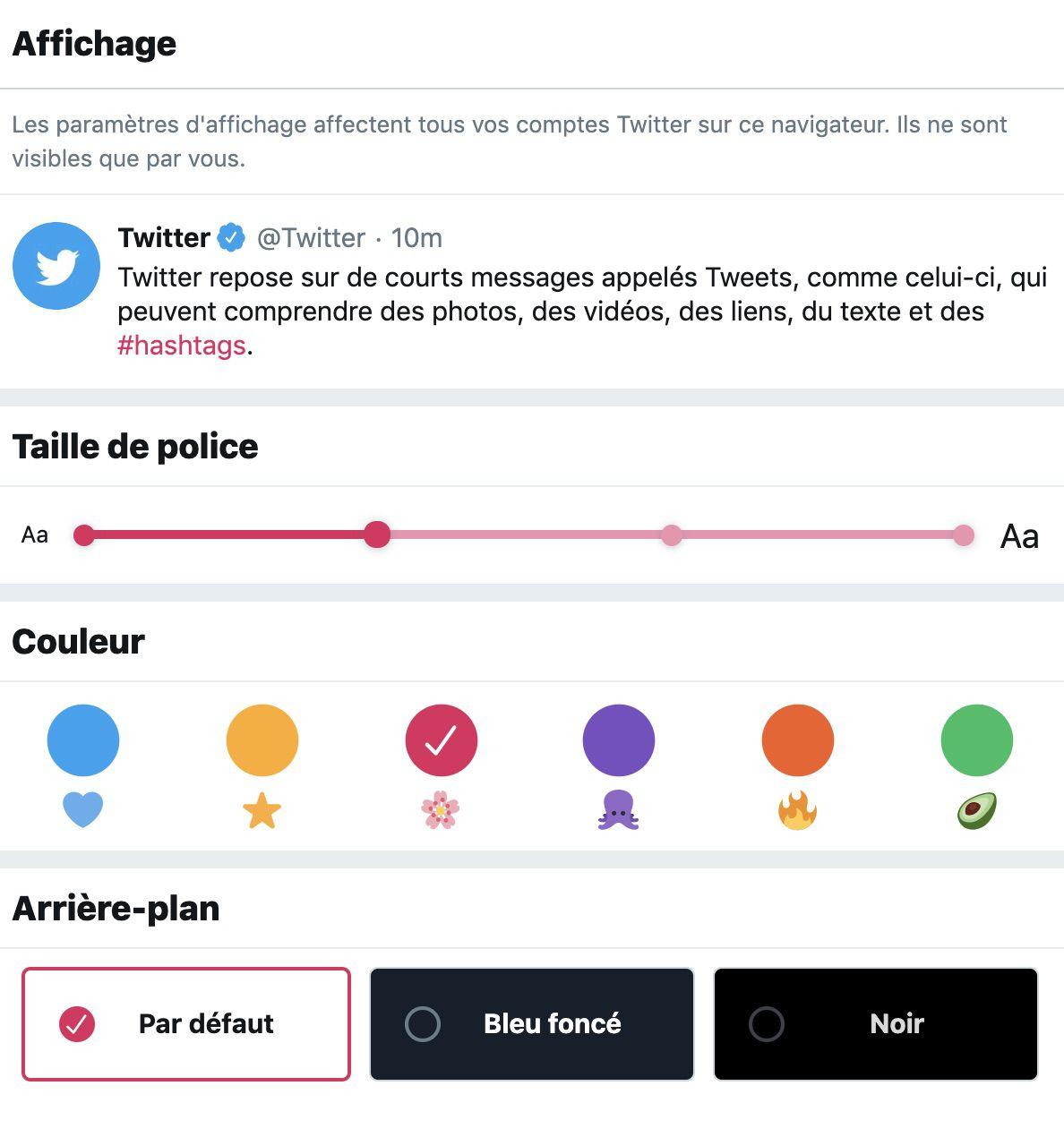 Personnalisation du thème de Twitter